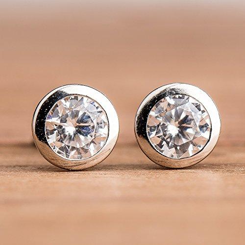 8mm Bezel Set Crystal Clear Cubic Zirconia CZ Gemstone Stud Earrings in Sterling Silver - April Birthstone Clear Bezel Set Gem