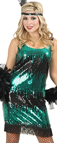 Girl Santa City Costume Party (Charades Womens Costume Flapper Dress Black and Jade Sequin)
