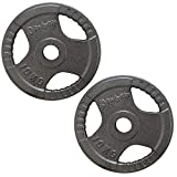 BodyRip Premium Olympic Cast Iron Tri Grip Weight Plates Discs | Fitness Exercise, Lifting, Fat Loss, Ripped, Barbell, Free Weights, Machine Weights (2 x 10kg)