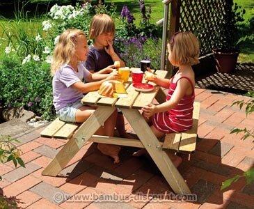 bambus-discount.com Picknicktisch Fabian für Kinder, 50x89x89cm - Kindertische für Garten Kinder Tisch