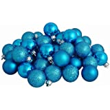 """32ct Turquoise Blue Shatterproof 4-Finish Christmas Ball Ornaments 3.25"""" (80mm)"""