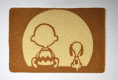 GiftSolutions Snoopy and Charlie Brown Doormat Snoopy Door Mat Snoopy and Charlie Brown Door Mat Handmade Eco-Friendly Doormat Rubber Home Decor Indoor Outdoor Entrance
