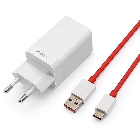 Cargador OnePlus Dash, ACOCOBUY OnePlus 6T Cargador 5V 4A USB Tipo C Cable 1 m [3.3ft] Dash Cable de Carga Rápido Cargador Cable de Datos USB C ...