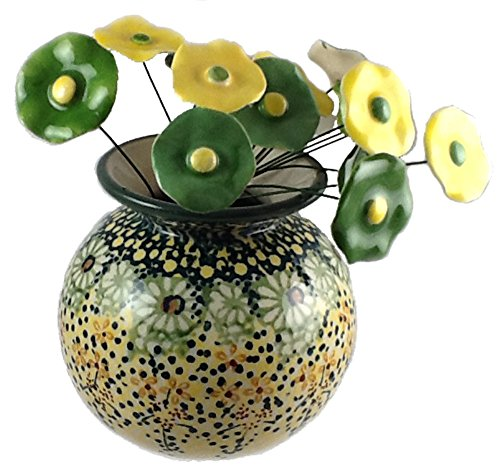 (Short Round Flower Vase in the signature Polish Pottery Pattern Roksana Plus 15 Coordinating Ceramic Flowers Handmade in Poland Yellow and Green)