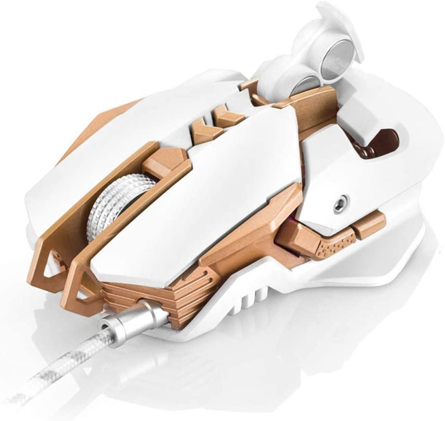 GSUMMER Gaming Mouse 7 Buttons 3200 DPI PC Gaming Mouse High Precision for Professional Gamers Ergonomic Design//USB Wired Mouse Optics White