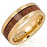 100S JEWELRY Tungsten Rings for Men Women Wedding Band Gold Hammered Edge Wood Inlaid Sizes 8-15 (12)