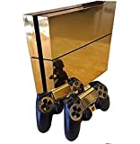 Gold Glossy Decal Skin Sticker autocollant for Playstation 4 PS4 Console+Controllers