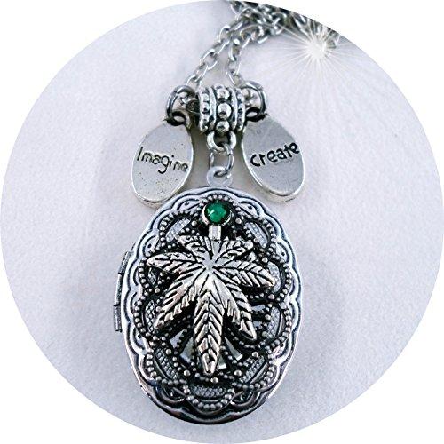 Marijuana Leaf Filigree Locket with Swarovski Emerald Crystal - Create, Imagine, Pot Lover, Weed, Ganja, Mary Jane, Cannabis, Sativa, Indica - Jane Pot Leaf Mary