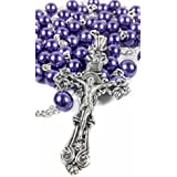 Catholic Rosary Necklace Purple Beads Jesus Crucifix Miraculous Medal 20