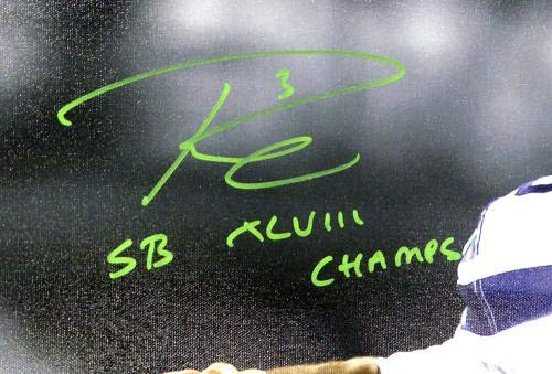 """Russell Wilson Autographed 24x30 Canvas Photo Seattle Seahawks""""SB XLVIII Champs"""" Super Bowl #/48 RW Holo Stock #104117"""