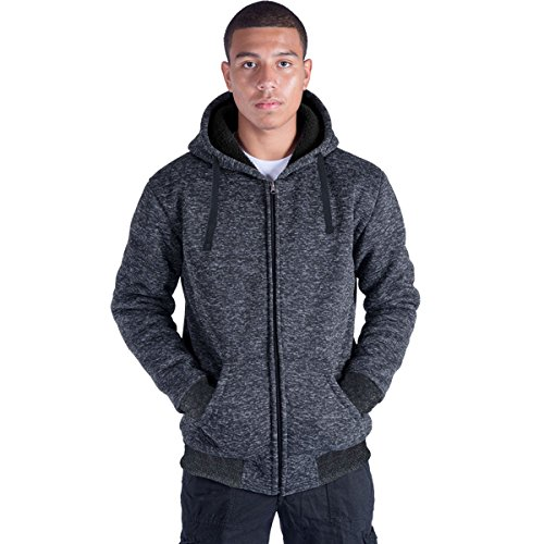 c15ec5e7ca3 Eurogarment Plus Size S-5XL Marled Heavyweight Fleece Hoodie for Men Sherpa  Lined Full Zip