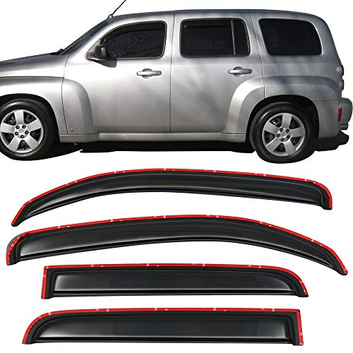 Window Visor Fits 2006-2011 Chevy HHR 4Door | Acrylic In-Channel Smoke Tinted 4PCS Sun Rain Shade Guard Wind Vent Air Deflector by IKON MOTORSPORTS | 2007 2008 2009 2010 ()