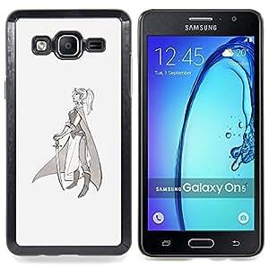 - Warrior Princess Sword Profile Art Drawing/ Duro Snap en el tel????fono celular de la cubierta - Cao - For Samsung Galaxy On5 SM-G550FY G550
