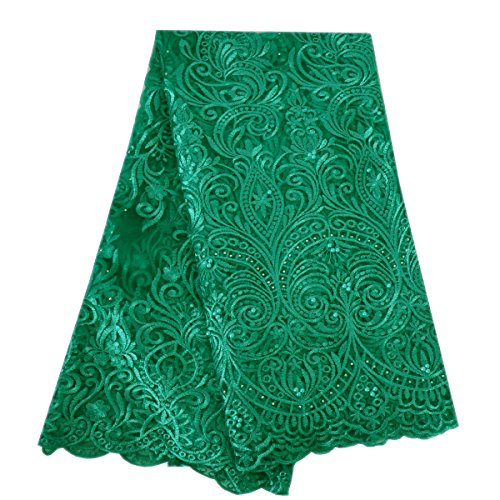 Lacerain 5 Yards African Net Lace Fabrics Nigerian French Fabric Embroidered and Rhinestones+Beads Lace Embroidery Fabric Fashion Lace DIY Dress Shirts Skirts (Green)