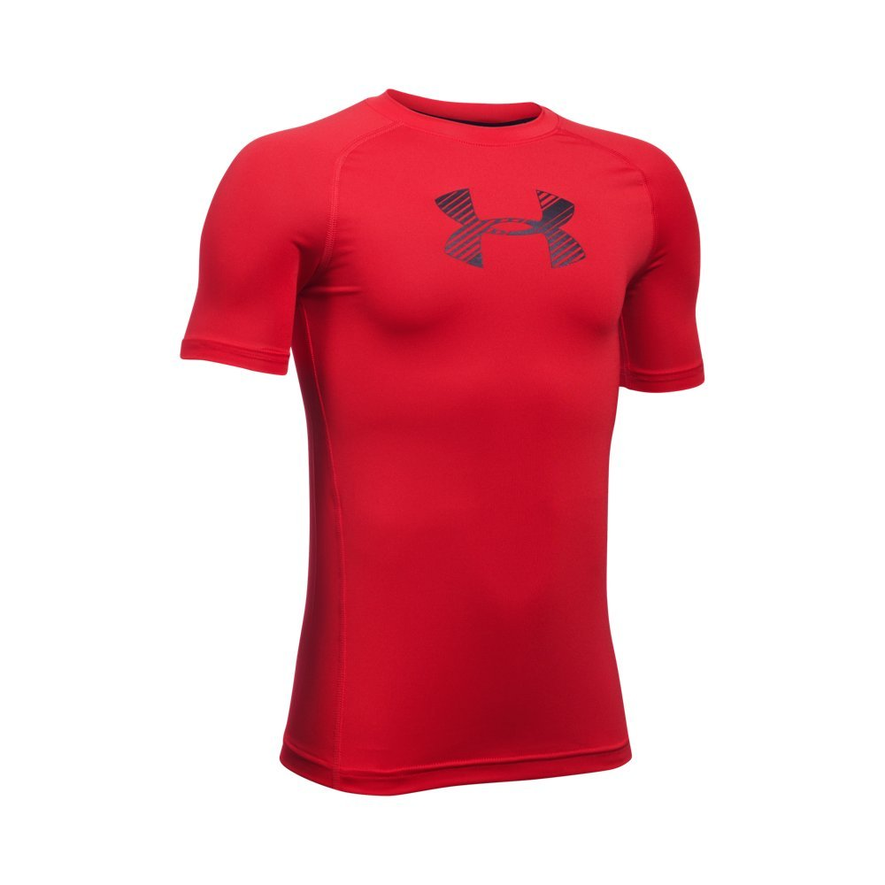 Under Armour Boys' HeatGear Armour Short Sleeve Fitted Shirt, Red /Black, Youth X-Large by Under Armour