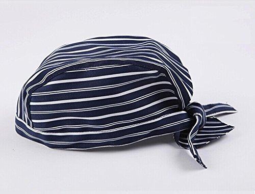 Classic Stripe Print Tied Chef Skull Cap Head Wrap Surgical Scrub Hat Biker