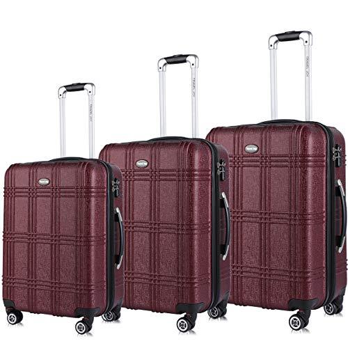 """Travel Joy Expandable Spinner Luggage Set,TSA lightweight Hardside Luggage Sets,Carry On Luggage (BURGUNDY 2, 3 pcs set(20""""24""""28""""))"""