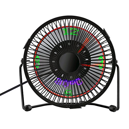 SUAYAN Mini USB Fan Table Desk Fans 3 in 1 LED Flashing Real Time Display Clock with Temperature Ddisplay 6inch Metal USB Fan(Black)