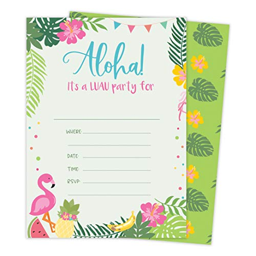 Luau 1 Hawaiian Happy Birthday Invitations Invite Cards (25 Count) With Envelopes and Seal Stickers Vinyl Girls Boys Kids Party -