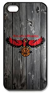 LZHCASE Personalized Protective Case for iphone 5 - NBA Sports Atlanta Hawks Logo in Wood Background