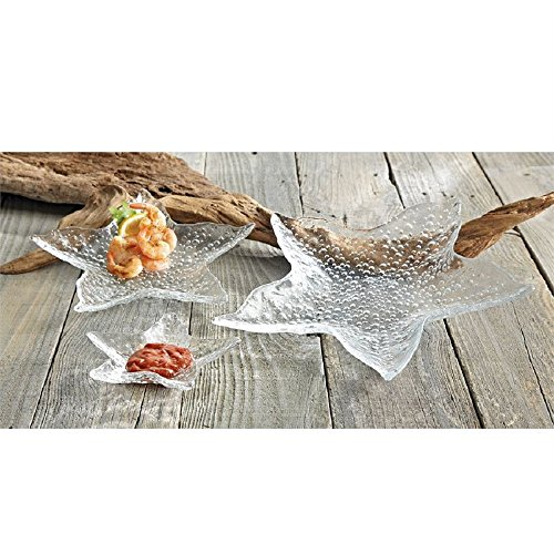 Mud Pie Clear Starfish Nested Glass Tray Set of 3
