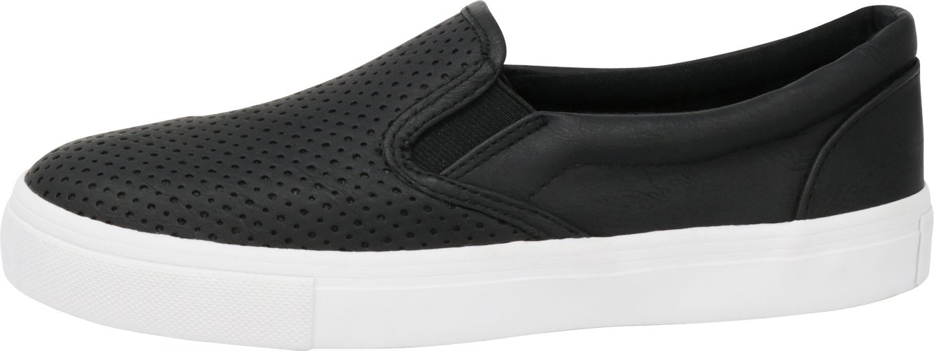 Cambridge Select Women's Slip-On Closed Round Toe Perforated Laser Cutout White Sole Flatform Fashion Sneaker B07F95GM6Q 10 B(M) US|Black Pu/White Sole