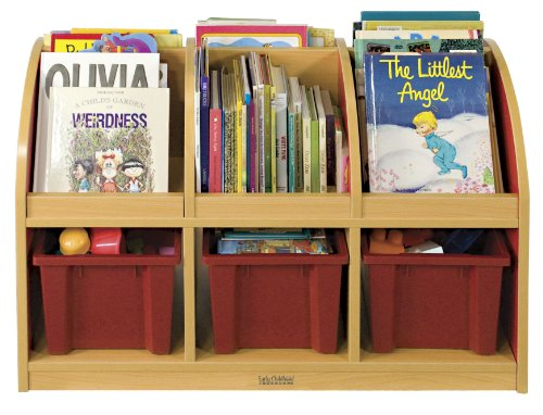ECR4Kids Colorful Essentials Double-Sided Book Display and Storage, Toddler, Maple/Red Red Account Books