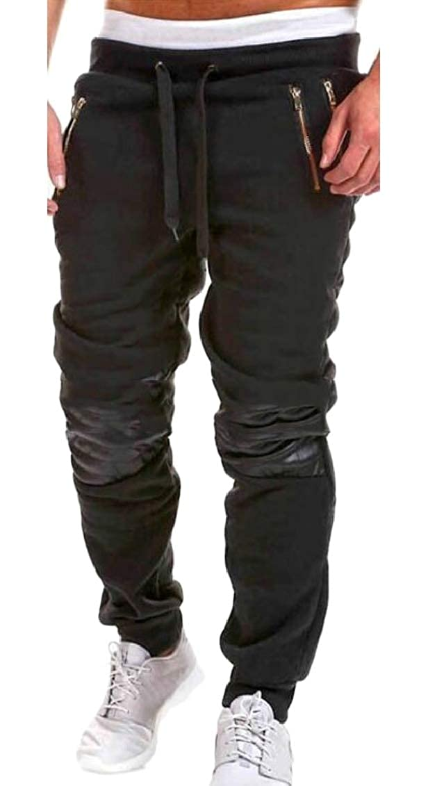 Hajotrawa Mens Low Waist Pocket Zipper Stretch Drawstring Patchwork Active Jogger Pants