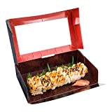 Sushi Box, Sushi To Go Box, Sushi Take Out Container with Window - Black - 8'' x 4.7'' - Carry Out Sushi - Asian Design - 200ct Box - Restaurantware