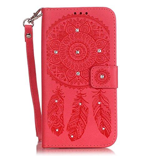 Voguecase® für Apple iPhone 6 Plus/6S Plus 5,5 hülle, Kunstleder Tasche PU Schutzhülle Tasche Leder Brieftasche Hülle Case Cover (Diamant/Campanula Blume/Rot) + Gratis Universal Eingabestift