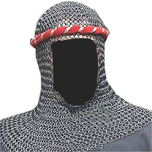 Chain Mail Coif Butte Chainmail Hood Knight Armour Hood Coif Sca Standard Black