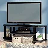 Best Sellers TV Stand for Smart TV, HD, UHD TV Espresso/Black for Men and Girls, Tall Elevated Modern Flat TV Stand & E-Book