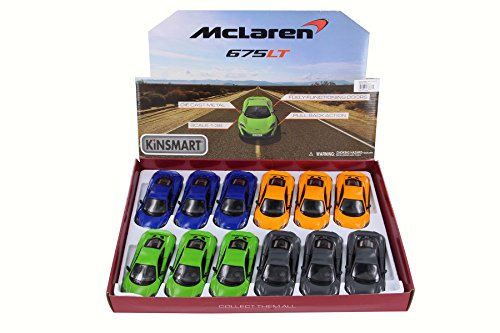 12 Scale Diecast Model - Kinsmart McLaren 675LT Diecast Car Package - Box of 12 1/36 Scale Diecast Model Cars, Assorted Colors