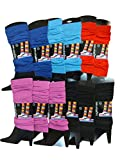Womens Warm Winter Leg Warmers, Soft Colorful and Trendy (12 Pack C)