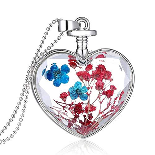 VIccoo Floral Necklace Flower Specimen Pendant Epoxy Resin Heart Shaped Pendants Unique Women Lady Jewelry Charms Gifts Beading Chain Fashion Luxury - Blue