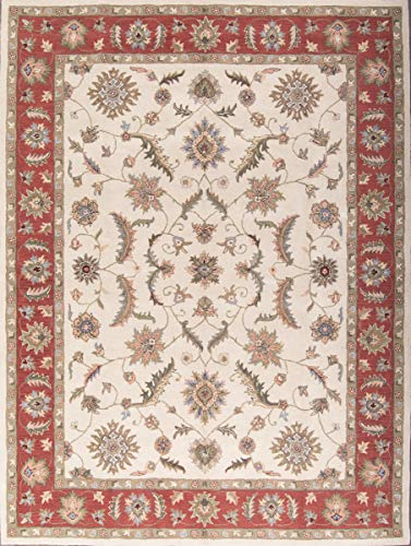13' Wool - Wool Hand Tufted Floral Ivory 10X13 Tabriz Persian Style Agra Oriental Area Rug (13' 0'' X 10' 0'')