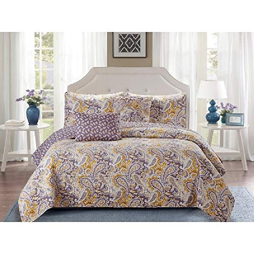 5 Piece Modern Apricot Purple Reversible Quilts Queen Size, All Seasons Beautiful Paisley Leaf Pattern Soft Bedding Set, Charming Embossed Textured Contemporary Microfiber Luxury Warm Cozy Quilt Set