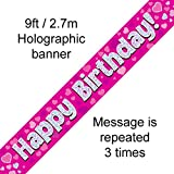 Oaktree 624320 Happy Birthday Pink Holographic Banner by Signature Balloons