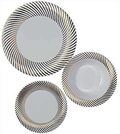 Party Joy 75-Piece Plastic Dinnerware Set | Swirl Collection | (25) Dinner Plates, (25) Salad Plates  & (25) Bowls| Heavy Duty Premium Plastic Plates for Wedding, Parties, Camping & More (Gold Swirl)