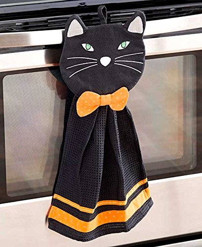 2 Pc Towel & Pot Holder Halloween Kitchen Set (black cat)