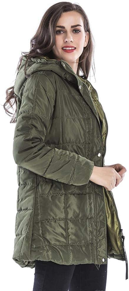 NANA318 Piumino Invernale da Donna, con Collo in Sintetica Verde militare