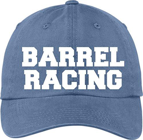 Horse Lovers Barrel Racing Steel Blue Ball Cap Novelty Hat Soft Feel Lettering