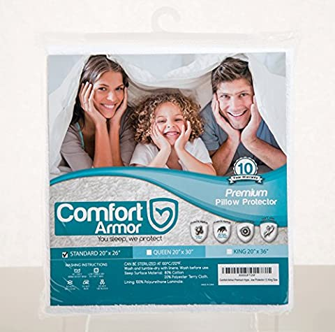Comfort Armor Pillow Protector Standard Size Premium Hypoallergenic Bed Bug Proof Zippered Qty 1 (Bedbug Pillowcase)