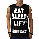 Eat Sleep Lift Repeat Gym Weight Men NEW Black S-2XL Sleeveless T-shirt | Wellcoda