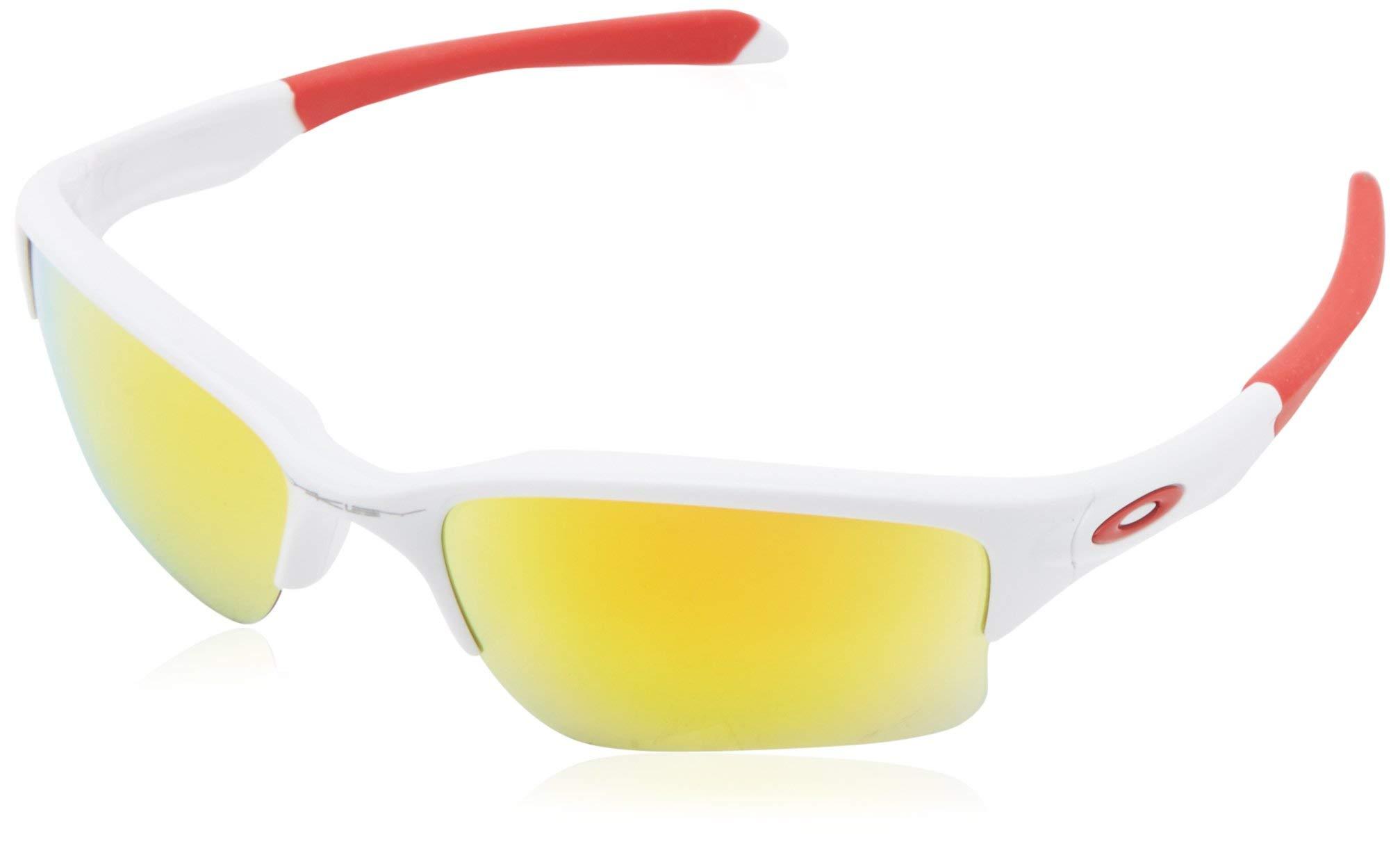 Oakley Men's OO9200 Quarter Jacket Rectangular Sunglasses, Polished White/Fire Iridium, 61 mm by Oakley