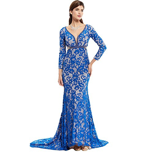 Clocolor Women's Formal Mermaid Blue Lace V Neck Prom Evening Dress Zipper-Up Long Sleeves Prom Dress Evening Gown