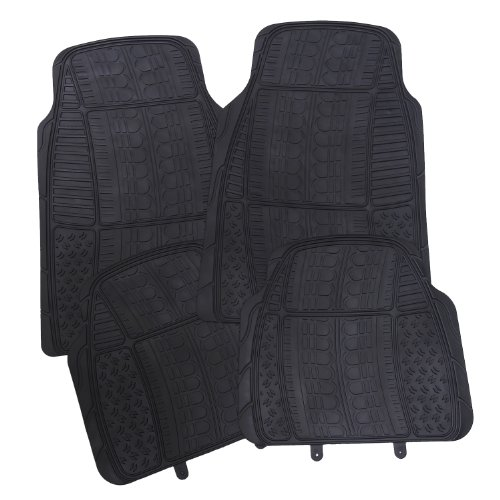 UPC 663489008013, Adeco [FL0205] Rubber All-Weather Car Floor Mats - Set of 4-Pieces, Universal Fit - Black Color