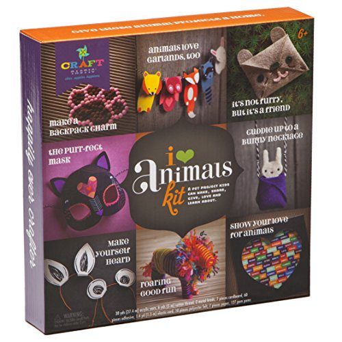 Yarn Animals - Craft-tastic – I Love Animals Kit – Craft Kit Makes 8 Animal-Themed Projects