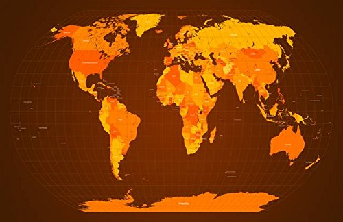 Wall Art Print entitled World Map Fall Colours by Michael Tompsett - fall wall art decor