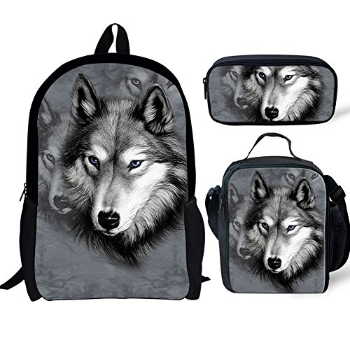 FOR U DESIGNS School Backpack for Boys Girls Teens Bookbag Lightweight Lunch Box Set with Pencil Case